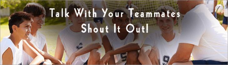 heading soccer ball - talk with teammates